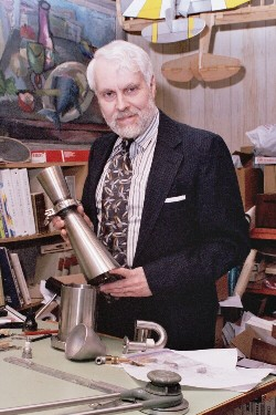 Larry Cottrill with Cyclodyne(TM) engine prototype parts - Photo Copyright 2003 Cottrill Cyclodyne Corporation