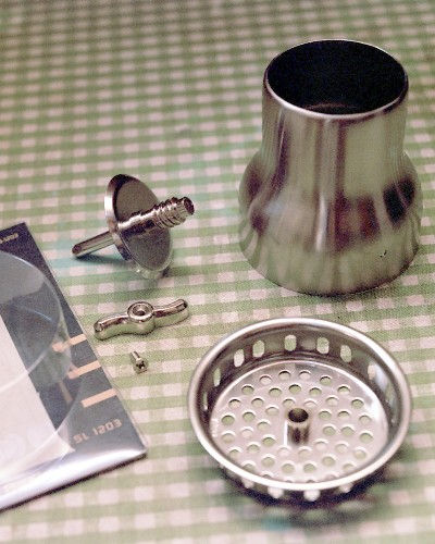 Finished diffuser shell behind sink strainer 'draggy flameholder' (c) 2003 Larry Cottrill